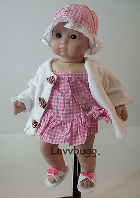"Lovvbugg Swim Suit with Robe and Sandals Hat  for 15"" Bitty Baby Doll Clothes"