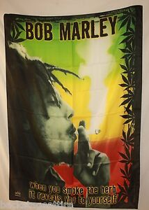 BOB MARLEY Herb Reveals You Weed Cloth Textile Poster Flag Fabric Banner-New!!