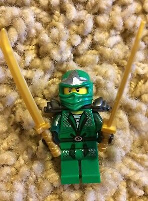 Lego Ninjago Green Ninja Llyod ZX Minifigure With 2 Gold Swords Rare 9450 70815