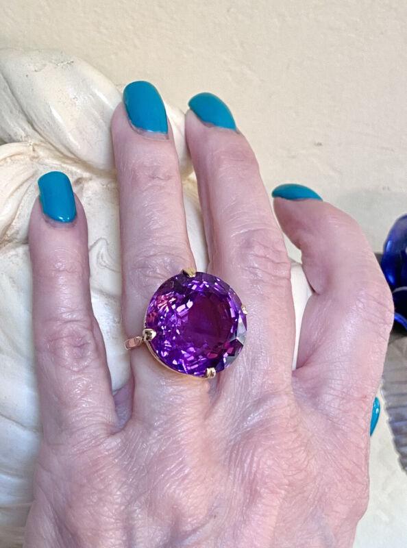 GORGEOUS Antique/Vintage 14 Kt. Rose Gold And 24 Carat Amethyst Gemstone Ring