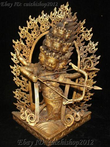 "13"" Tibet bronze Gild Mahākāla Toxophily King Protector Deity Buddha statues"