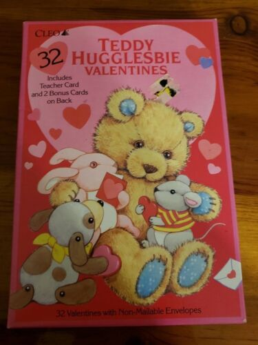 Vintage NOS box 32 Teddy Hugglesbie Gibson Greetings Valentines Day Cards CLEO