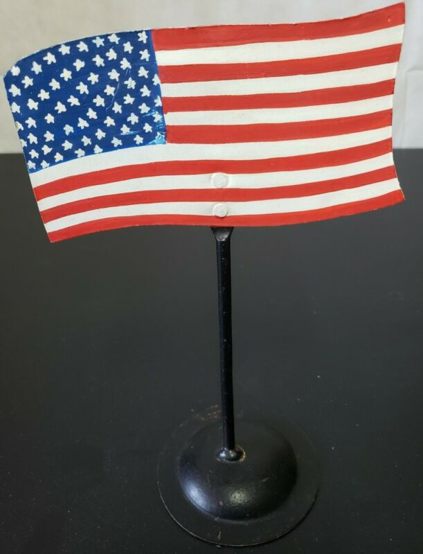 United States Of America USA Flag Metal Candle Holder Hand Painted