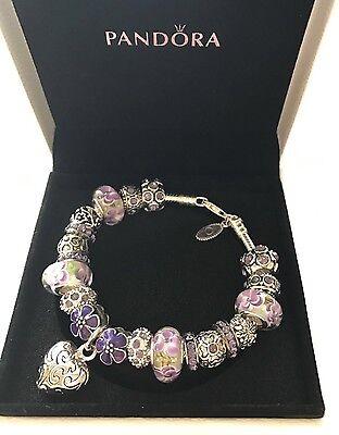 Authentic Pandora Silver Charm Bracelet With White Love Purple European Charms