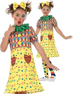 Mädchen Clown Kostüm Kinder Zirkus Regenbogen Lustig Outfit Neu