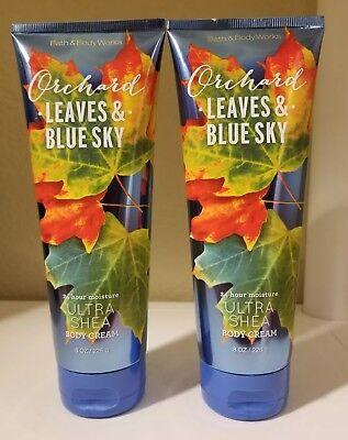 (2 Bath & Body Works ORCHARD LEAVES & BLUE SKY Ultra Shea Body Cream)