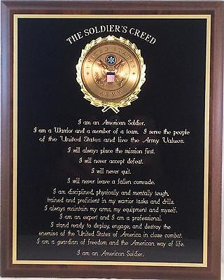 US ARMY GIFT ~ ARMY SOLDIER'S CREED PLAQUE ~ Can be Personalized ~ GRADUATION