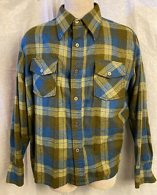 1970s Mens Shirt Styles – Vintage 70s Shirts for Guys VTG 1970s Mens Flannel Wool Shirt Button Up Brown Blue Distressed Untuck XL $30.00 AT vintagedancer.com