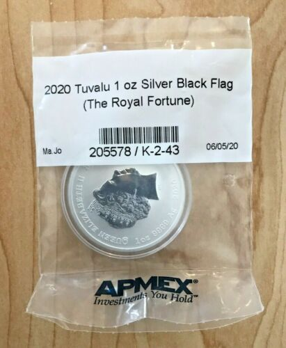 2020 Tuvalu 1 oz Silver Black Flag The Royal Fortune In Sealed APMEX Pouch EBUX