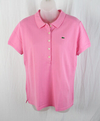 Lacoste Women's Pink Short Sleeve Polo Tee Shirt Top Size 46 14