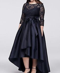 Lace Bodice Plus-Size High-Low Ball Gown  Sz 14