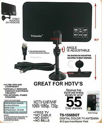 Indoor Uhf Hdtv - Digital Indoor TV Antenna HDTV DTV Box Ready HD VHF UHF Flat Design High Gain