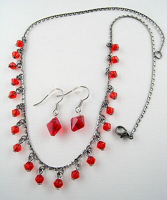 Dangling Faceted Cherry-Red Austrian Crystal Glass Bead Necklace Earrings