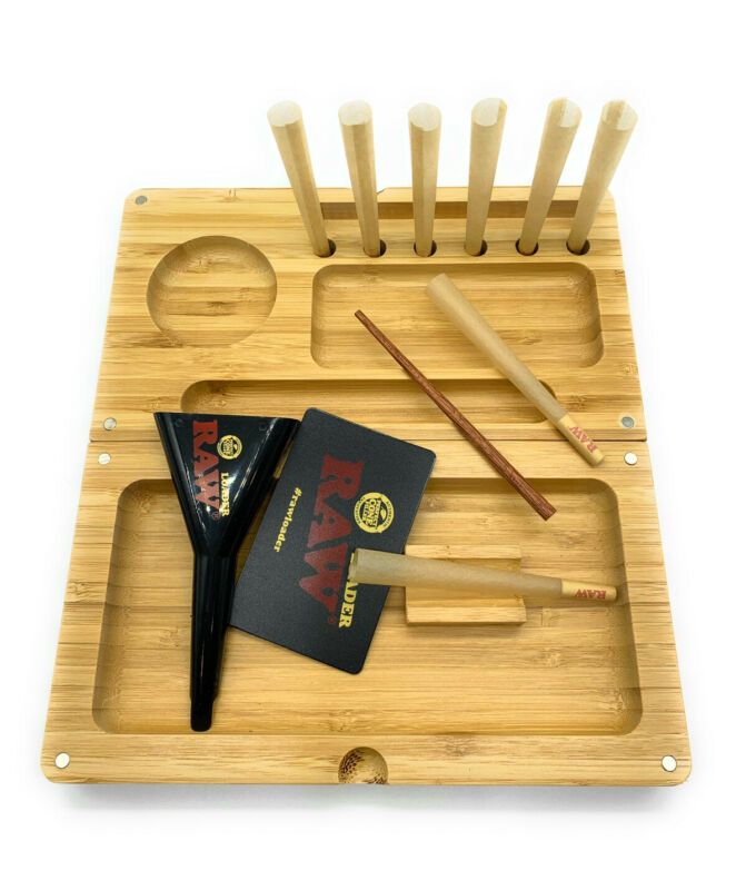 natural hand made wooden bamboo backflip magnet tray NOT included cone&loader