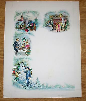 VINTAGE CHRISTMAS DINNER TREE DECORATIONS SNOWMAN CHURCH SLEIGH TURKEY PAINTING