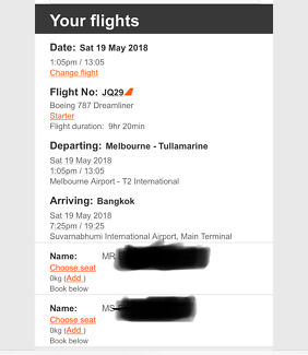 2x Melbourne to Bangkok Return ticket with 20kg