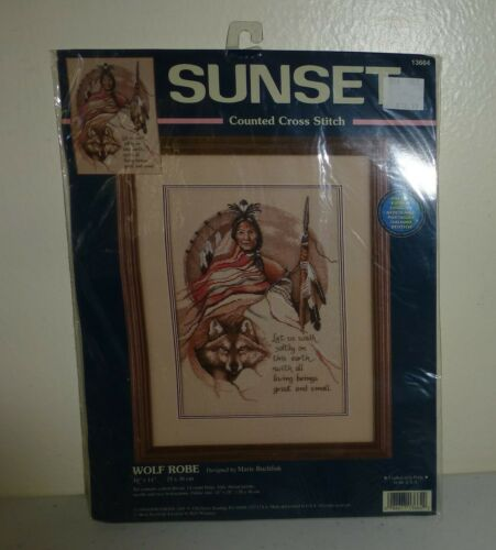 Sunset Counted Cross Stitch WOLF ROBE Tribal Native Kit by Marie Buchfink~ New