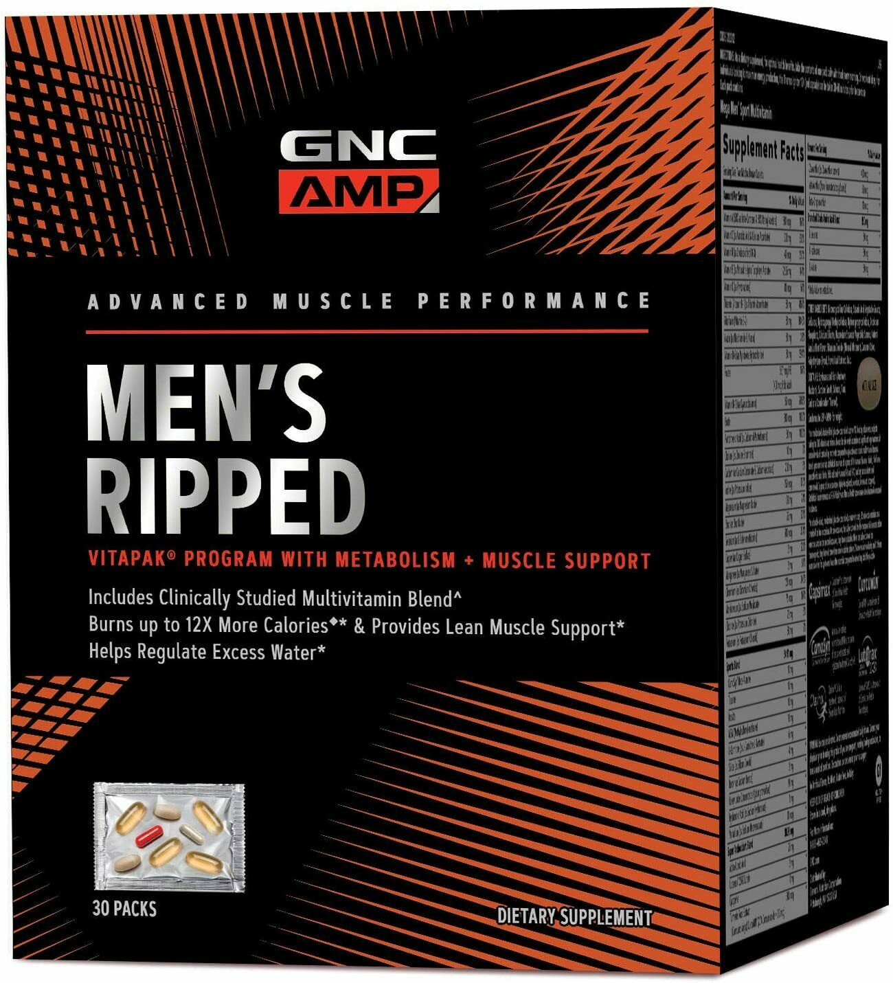 GNC AMP Mens Ripped Vitapak Program with Metabolism andMuscle Support  FREE SHIP