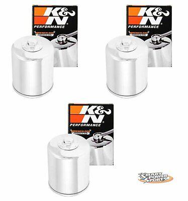 3 Genuine K&N KN-174C CHROME Oil Filter - Harley V-Rod *FREE PRIORITY SHIP*