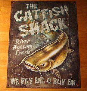 Catfish Shack River Cabin Fisherman Fishing Lodge Home Rustic Decor Sign New Ebay
