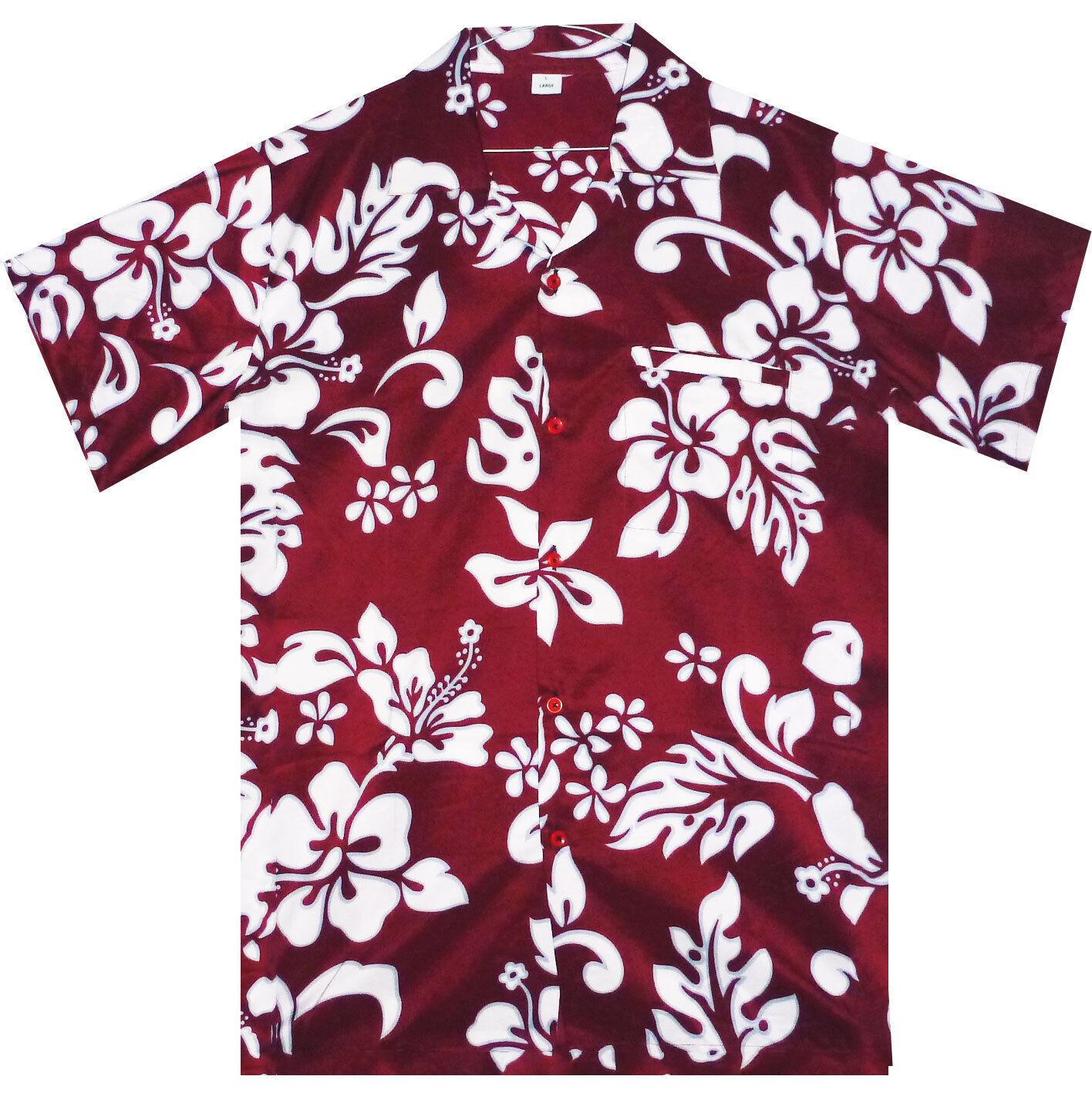 Funky Hawaiihemd Hibiscus Maroon Rot B Ware