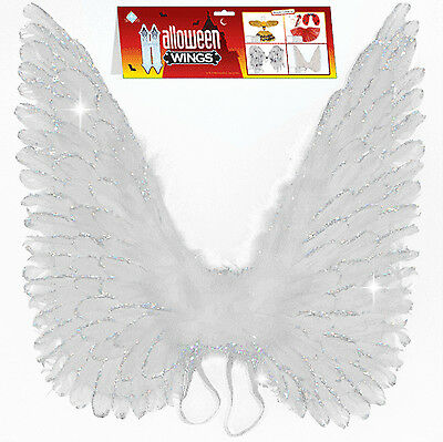 "24"" White Glitter Real Feather Wings Perfect for your Angel Halloween Costume!"