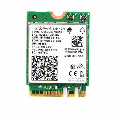 Intel AC 9260 9260NGW NGFF Dual Band 1730Mbps BT5.0 Wireless WiFi Card 802.11ac