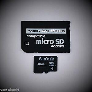 Memory Stick PRO Duo Adapter + Sandisk 16GB microSD SDHC für SONY Geräte PSP NEU