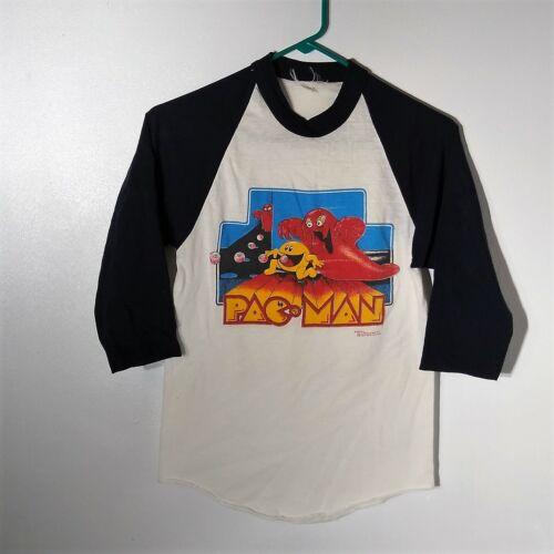 "VTG PAC-MAN Midway The Wiz Kids RAGLAN Boys T Shirt 32"" Chest Great Graphics"