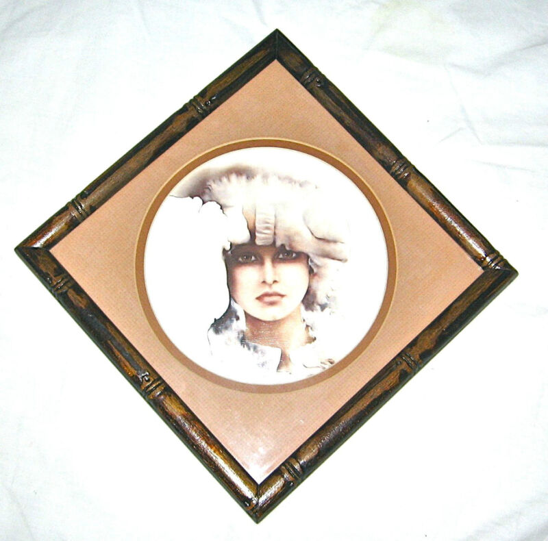 Nicely Framed Picture of a Young Woman, Multi Colored Wall Decor.
