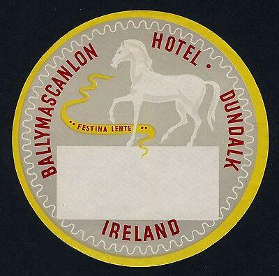 Ballymascanlan Hotel DUNDALK Ireland / Horse * Old Luggage Label Kofferaufkleber