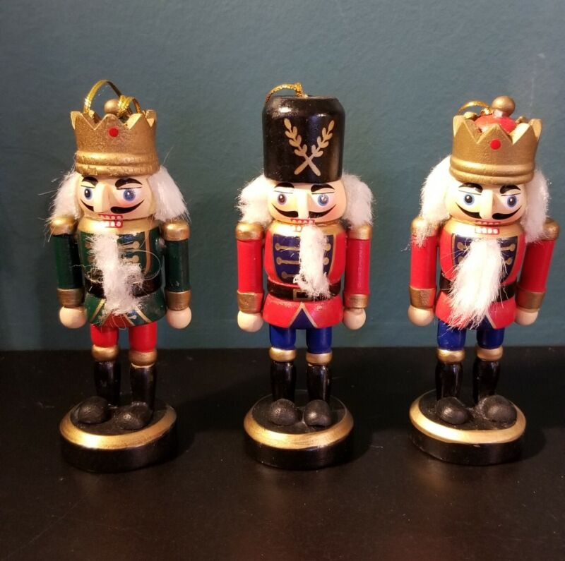 3 Wooden Nutcracker Ornament Lot with Green and Red Uniforms Good Condition