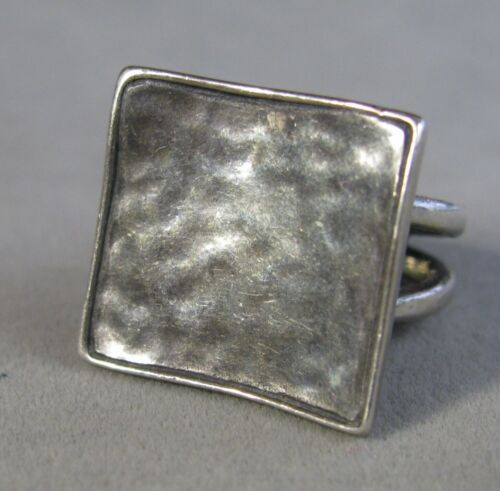 Vintage Sterling Silver SILPADA Square Face Hammered Finish Ring Size 5   #J3330