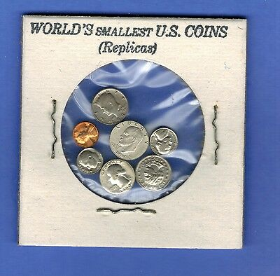 WORLD'S SMALLEST US COINS NOVELTY LINCOLN PENNY KENNEDY HALF IKE DOLLAR SET (7)
