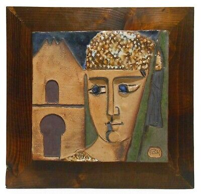 Sleeping Woman Ceramic Abstract Art Wall Tile Large Decorative Raised Relief