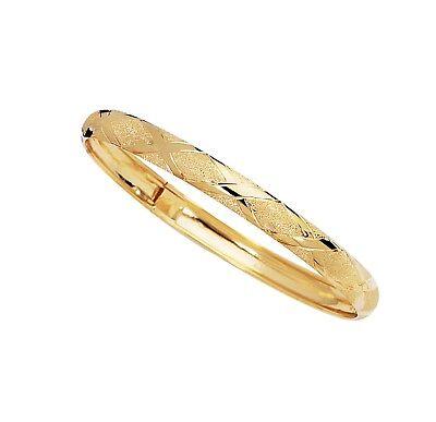 X Design Hug Textured Diamond Cut Bangle Bracelet Real Solid 10K All Yellow Gold Diamond Design Bangle