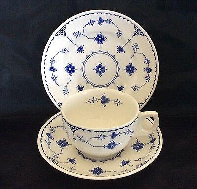 Furnivals  Blue Denmark Breakfast Cup Saucer Plate Tea Set Trio