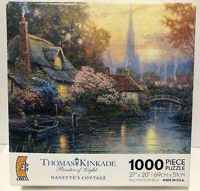 """Thomas Kinkade Nanette's Cottage 27""""x 20"""", 1000 Piece Puzzle NEW ! Sealed !"""