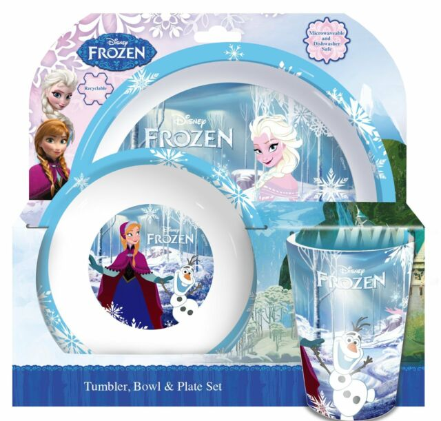 Disney Frozen Kids 3 Pce Licensed Dinnerware Elsa Dinner Set Plate Bowl Tumbler