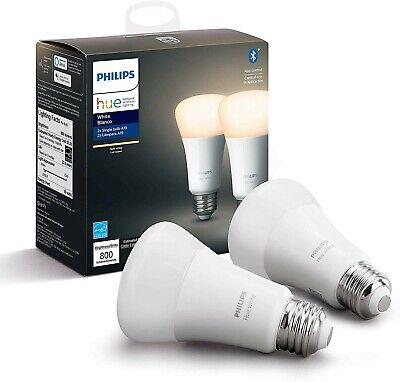 Philips Hue White 2-Pack A19 LED Smart Bulb, Bluetooth & Zigbee compatible...
