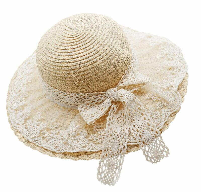 Bienvenu Little Girl Kids Summer Straw Hat Wide Brim Floppy