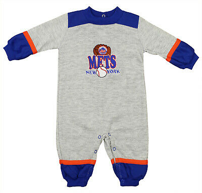 New York Mets MLB Baby Boys Infant Ball & Mitt Graphic Fleece Coverall, Grey ()