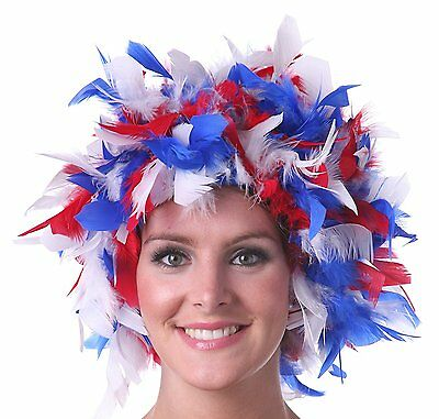 Uncle Sam Feather Wig Patriotic Costume Red White and Blue Spirit Accessory - Red White And Blue Wig