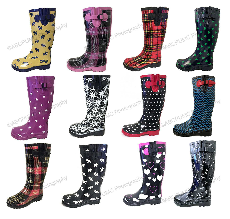 Women's Rain Boots Rubber Waterproof Colors Wellies Mid Calf