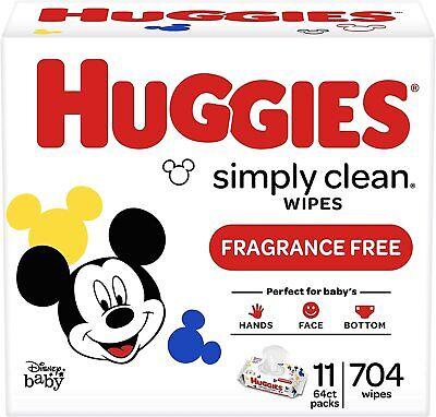Huggies Disney Baby Simply Clean Fragrance Free Baby Wipes 11 Packs of 64 Wipes