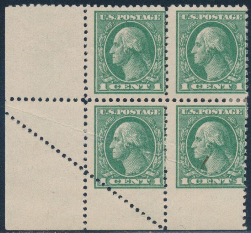 #525 Var. 1¢ Washington With Foldover Error Block Of 4 Bs3959