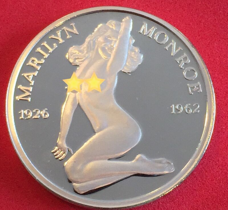 SILVER CLAD BRILLIANT BUILLION MARILYN MONROE COIN