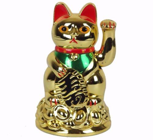 "Gold Maneki Neko Japanese Beckoning Fortune Money Lucky Cat AA Battery 4.5"" New"