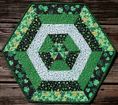 Handcrafted Quilted Table Runner Topper ST PATRICK'S DAY SHAMROCK GREEN