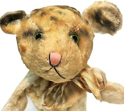 Steiff Tabby Kitty Cat Tiger Hand Puppet RARE Vintage German Mohair Button Toy